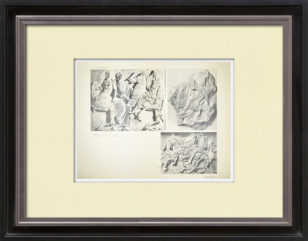 Oude Prenten & Tekeningen | Parthenon - Ionische Fries van Cella - Noordzijde - pl. 110 | Heliogravure | 1912