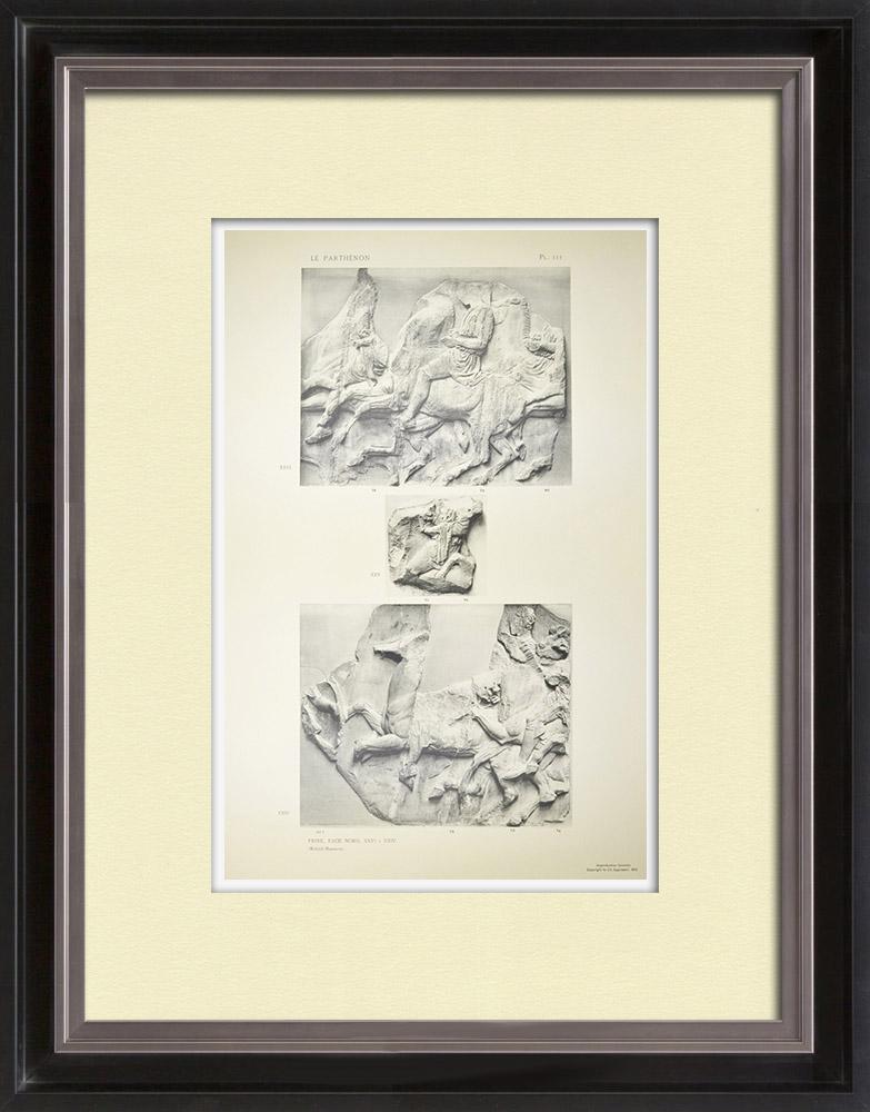 Gravuras Antigas & Desenhos | Partenão - Friso iônico da Cela - Lado norte - Pl. 111 | Heliogravura | 1912