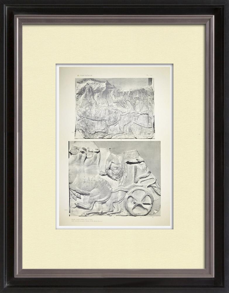 Oude Prenten & Tekeningen | Parthenon - Ionische Fries van Cella - Noordzijde - pl. 113 | Heliogravure | 1912