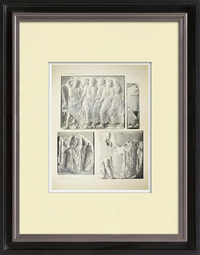 Gravures Anciennes & Dessins | Parthénon - Frise ionique de la Cella - Face nord - Pl. 116 | Héliogravure | 1912