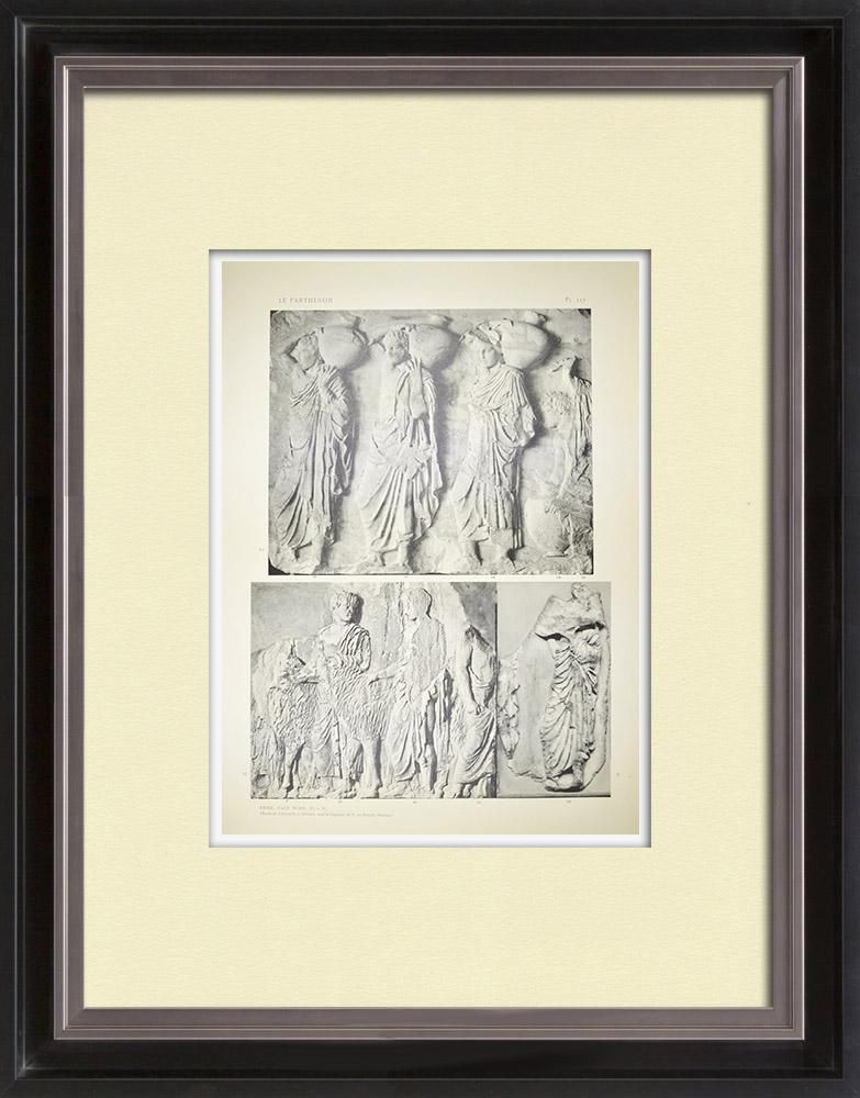 Antika Tryck & Ritningar | Parthenon - Ionisk fris i Cella - Norra sidan - Pl. 117 | Heliogravyr | 1912