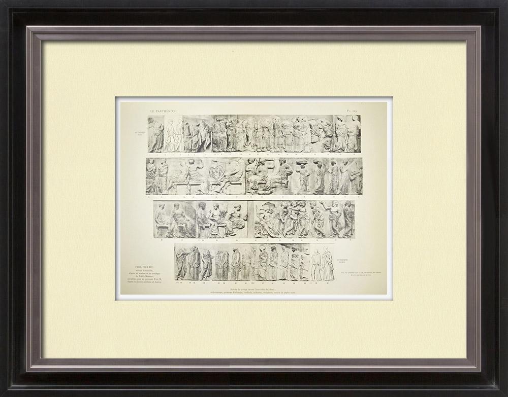 Grabados & Dibujos Antiguos | Partenón - Friso jónico de la Cella - Lado este - Vista General - Pl. 119 | Heliograbado | 1912