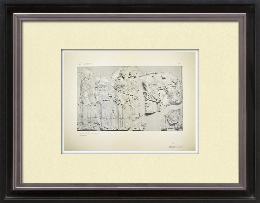 Oude Prenten & Tekeningen | Parthenon - Ionische Fries van Cella - Oostzijde - pl. 121 | Heliogravure | 1912