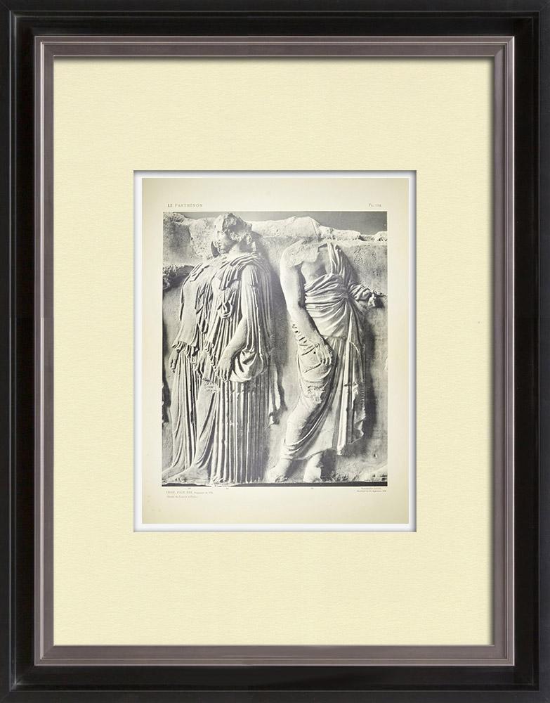Stare Grafiki & Rysunki | Partenon - Fryz Jonowy Celli - Strona Wschodnia - pl. 124 | Heliograwiura | 1912