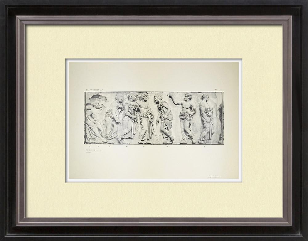 Gravures Anciennes & Dessins | Parthénon - Frise ionique de la Cella - Face est - Pl. 125 | Héliogravure | 1912