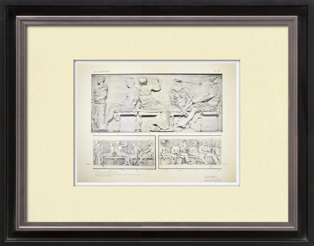 Oude Prenten & Tekeningen | Parthenon - Ionische Fries van Cella - Oostzijde - pl. 126 | Heliogravure | 1912