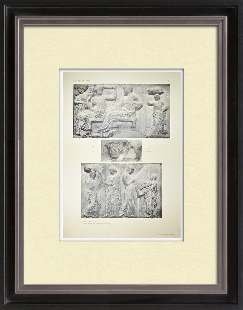 Antique Print & Etching | Parthenon - Ionenfries von Cella - Ostseite - Pl. 127 | Heliogravüre | 1912
