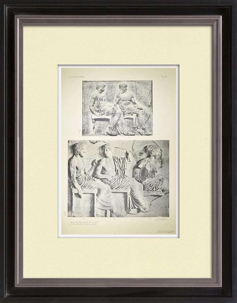 Gravures Anciennes & Dessins   Parthénon - Frise ionique de la Cella - Face est - Pl. 128   Héliogravure   1912