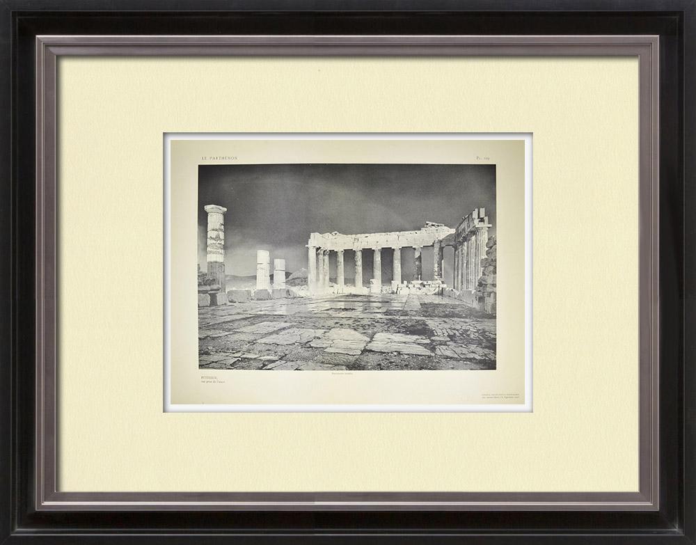 Antique Print & Etching   Parthenon - Innere - Ansicht vom Westen - Pl. 129   Heliogravüre   1912