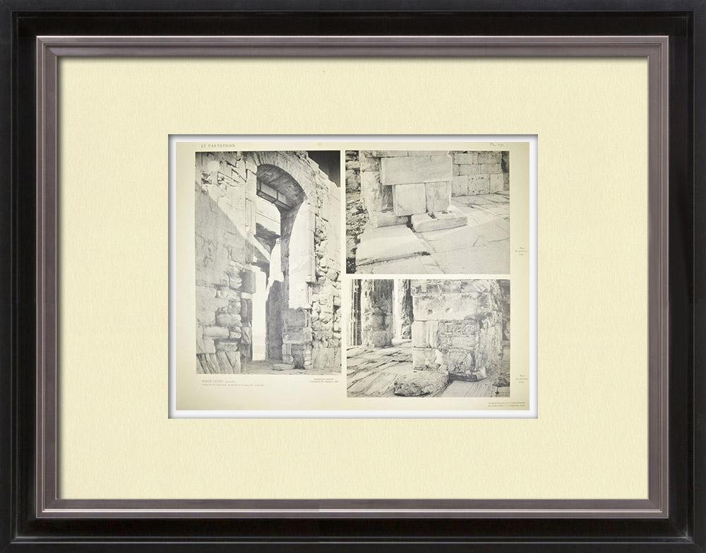 Antika Tryck & Ritningar | Parthenon - Interiör - Västdörr - Pl. 131 | Heliogravyr | 1912