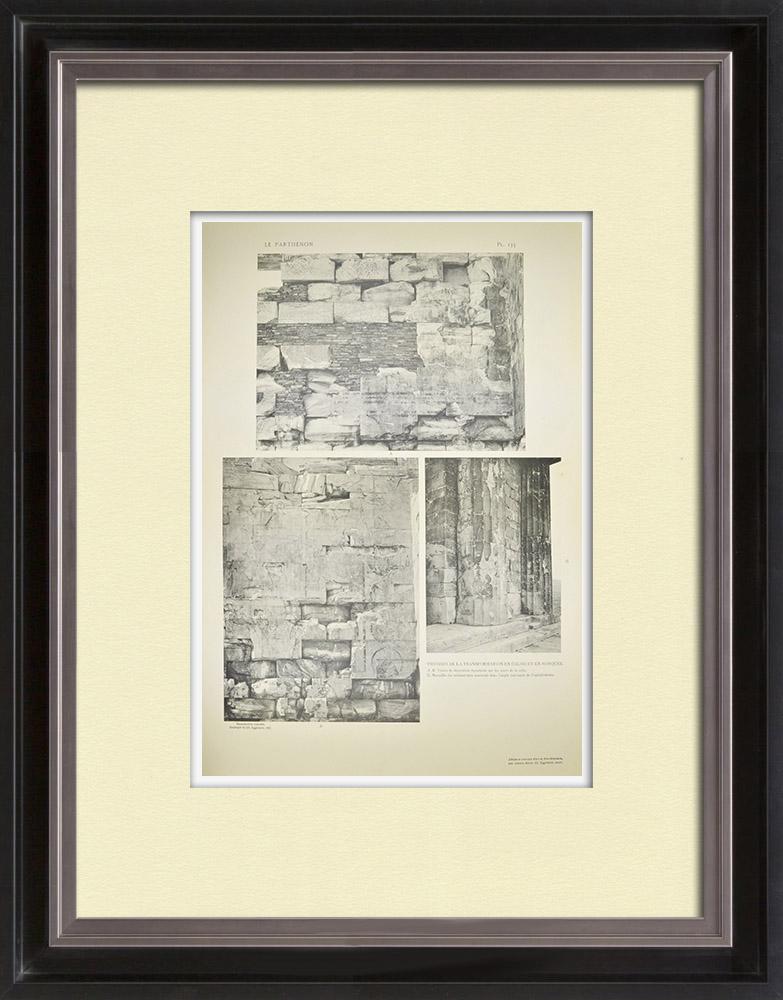 Antique Print & Etching | Parthenon - Spur - Kirche - Moschee - Pl. 135 | Heliogravüre | 1912