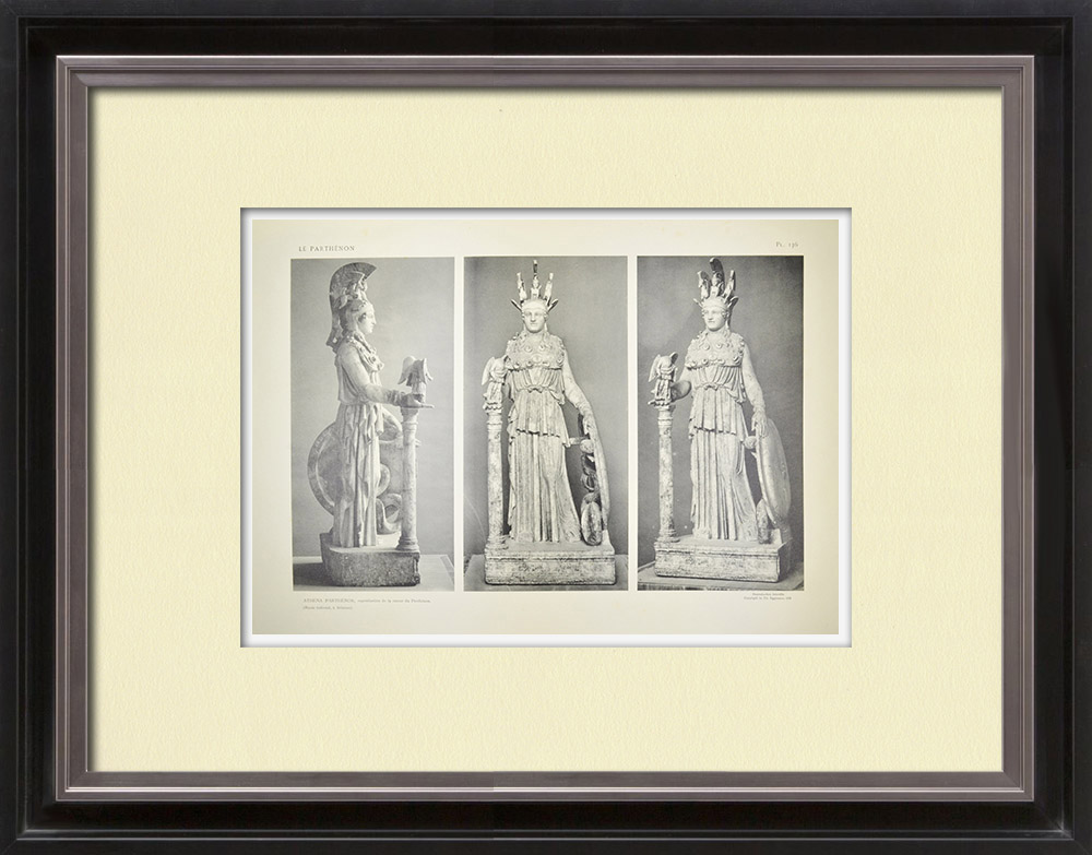Stare Grafiki & Rysunki | Partenon - Posąg Ateny Partenos - Fidiasz - pl. 136 | Heliograwiura | 1912