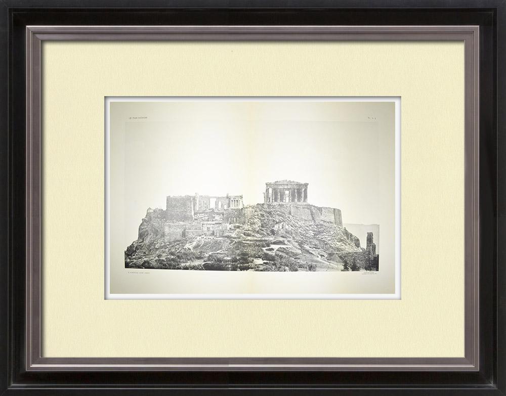Gravures Anciennes & Dessins | Acropole d'Athènes - Côté ouest - Pl. 2-3 | Héliogravure | 1912
