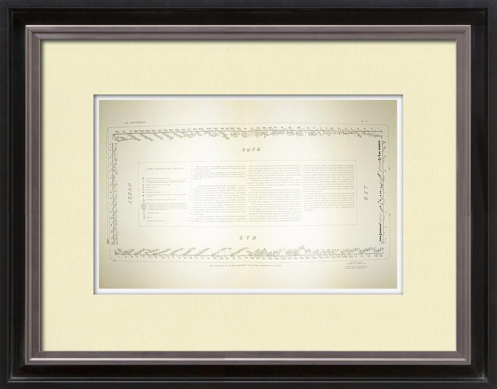 Antique Print & Etching   Parthenon - Ionenfries von Cella - Plan der Prozession - Pl. 75   Heliogravüre   1912