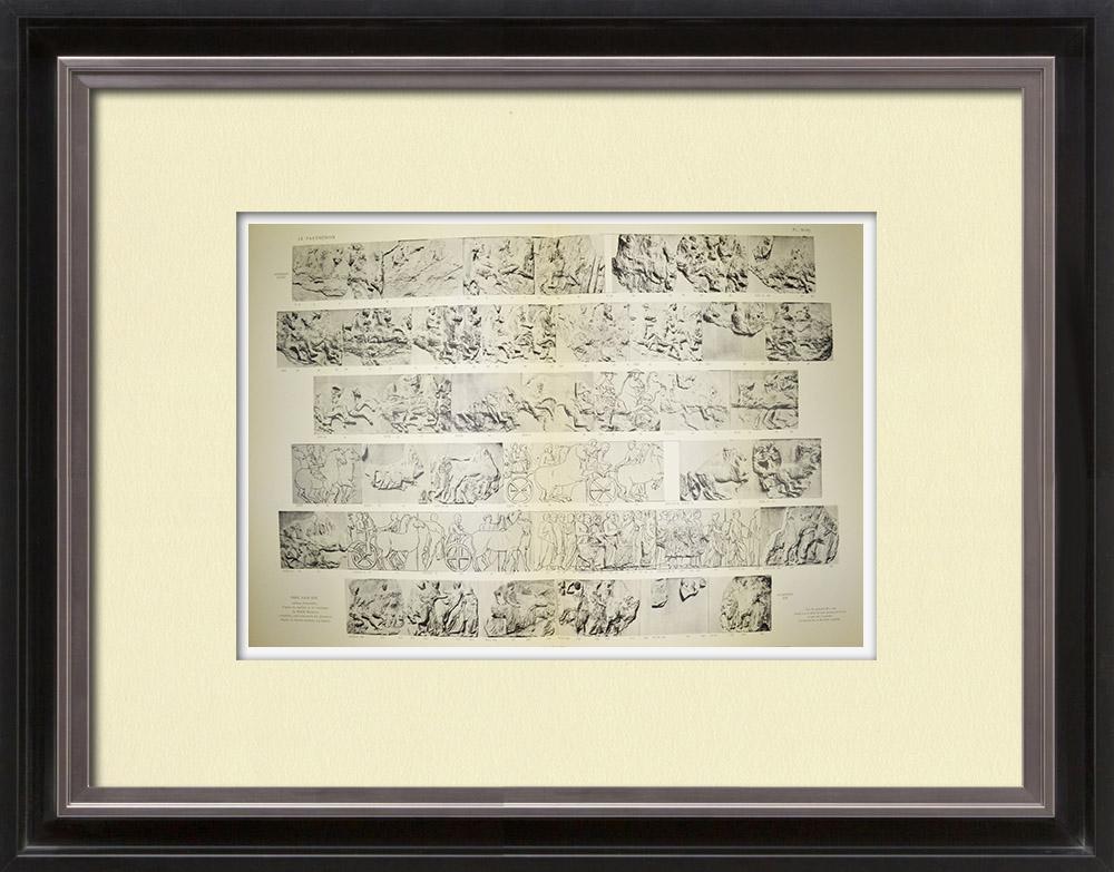 Stampe Antiche & Disegni | Partenone - Fregio ionico della Cella - Lato sud - Pl. 86-87 | Heliogravure | 1912