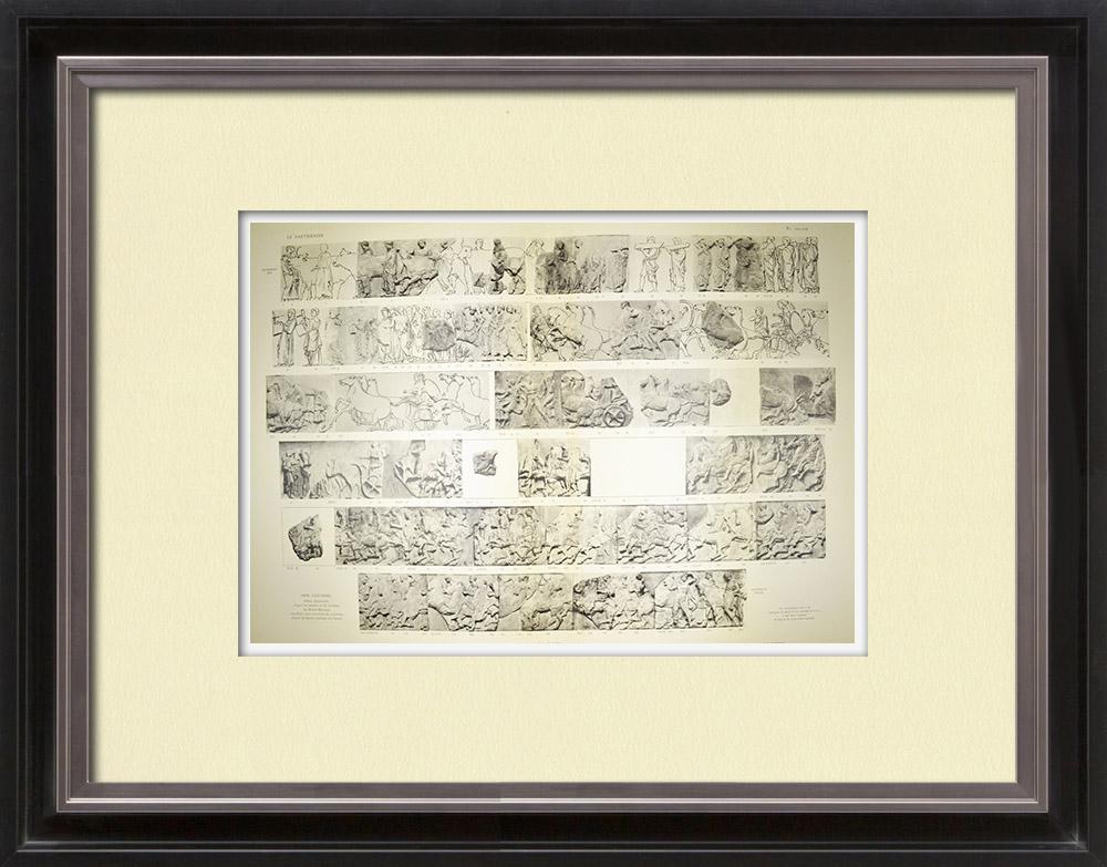 Oude Prenten & Tekeningen | Parthenon - Ionische Fries van Cella - Noordzijde - pl. 101-102 | Heliogravure | 1912