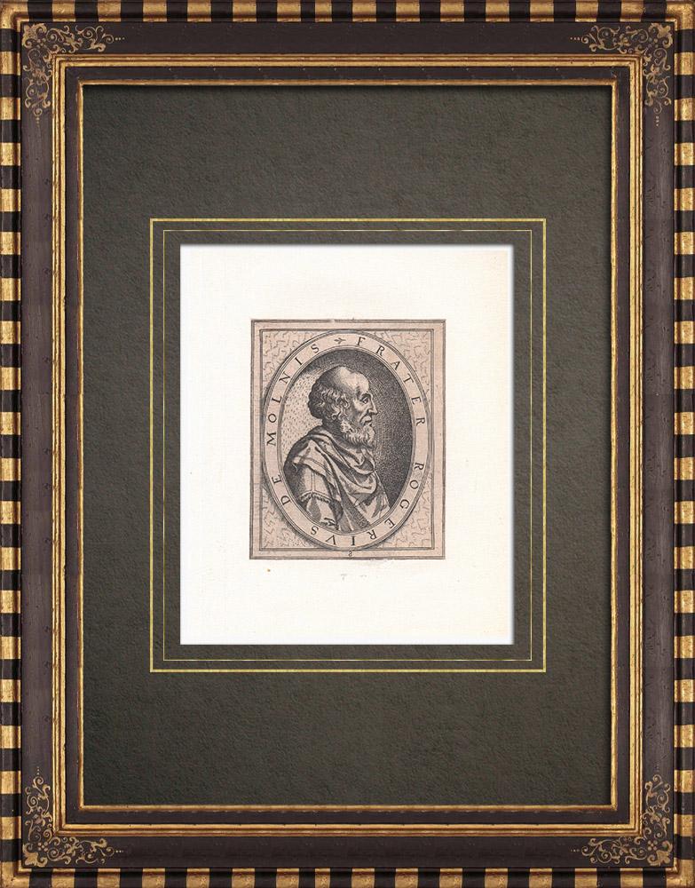 Gravures Anciennes & Dessins | Portrait de Roger de Moulins (?-1187) | Gravure à l'eau-forte | 1643