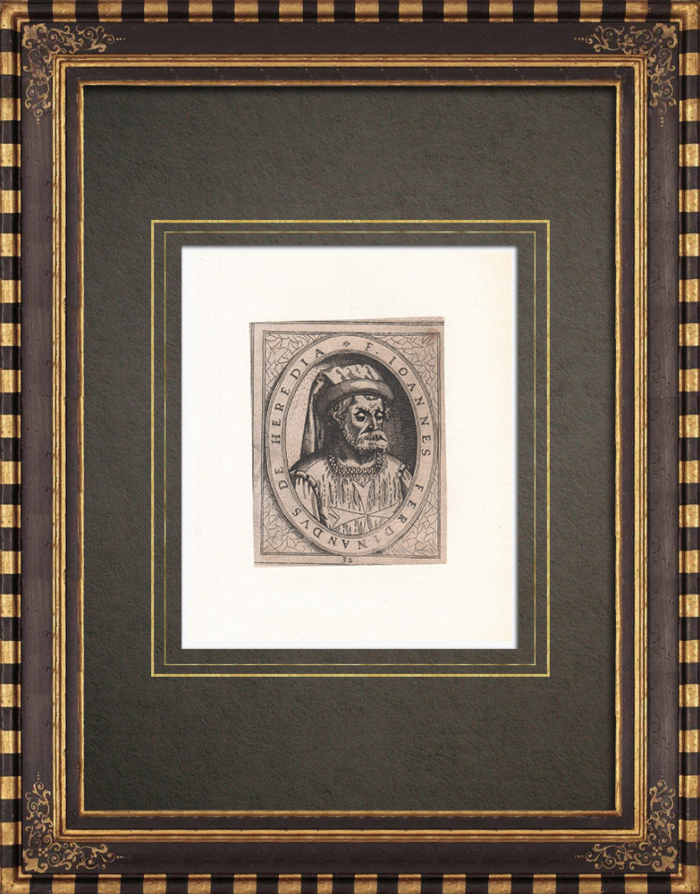 Antique Prints & Drawings | Portrait of Juan Fernández de Heredia (1310-1396) | Strong water etching | 1643