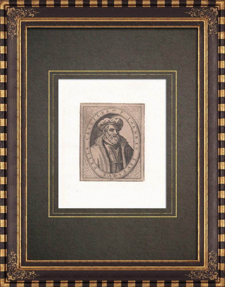 Gravures Anciennes & Dessins | Portrait de Jean L'Evesque de La Cassière (1502-1581) | Gravure à l'eau-forte | 1643