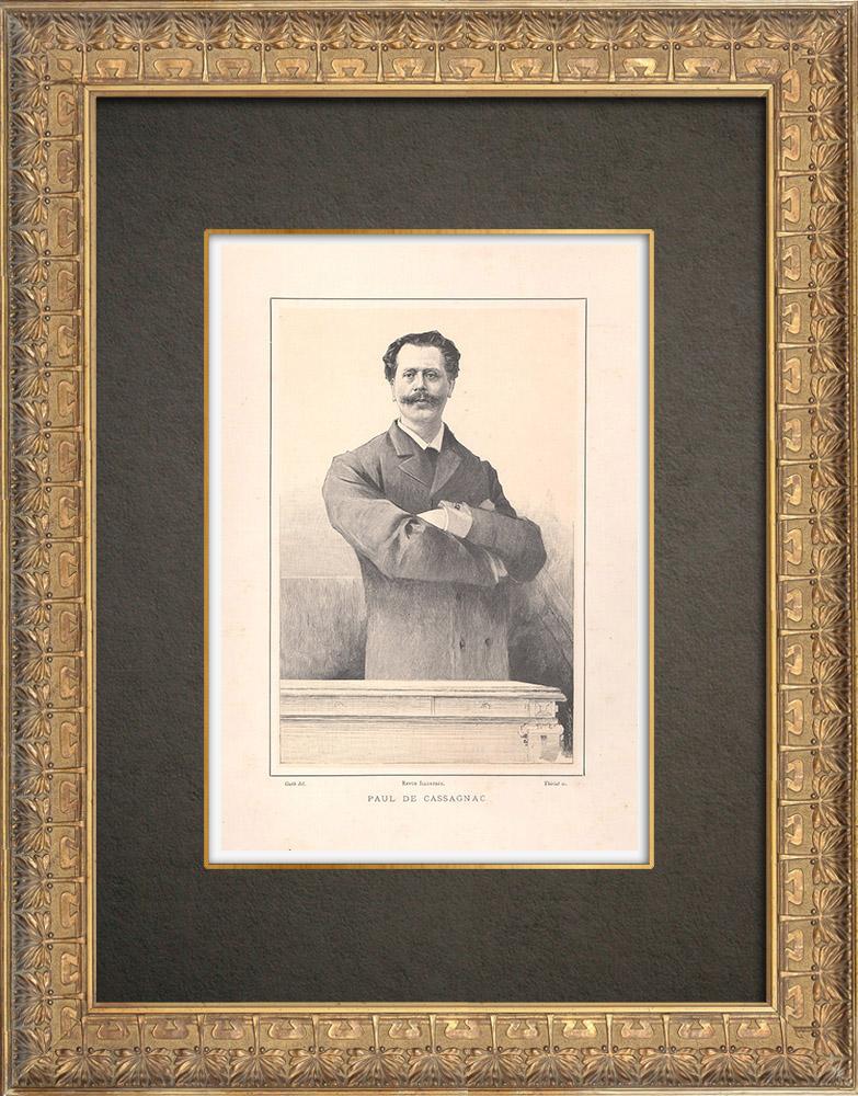 Gravures Anciennes & Dessins   Portrait de Paul de Cassagnac (1842-1904)   Typogravure   1890