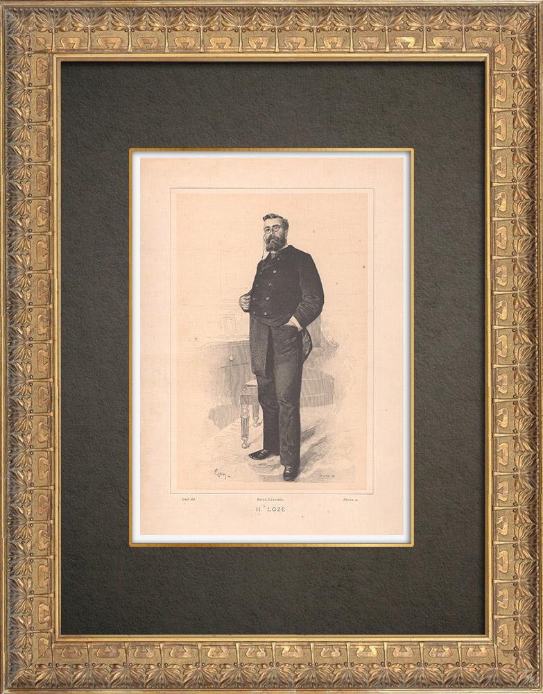 Gravures Anciennes & Dessins | Portrait de Henri Lozé (1850-1915) | Typogravure | 1890