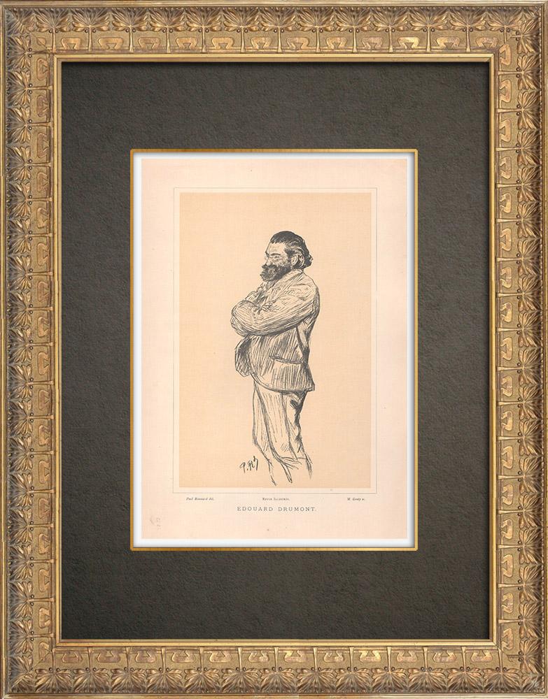 Gravures Anciennes & Dessins | Portrait de Édouard Drumont (1844-1917) | Typogravure | 1890