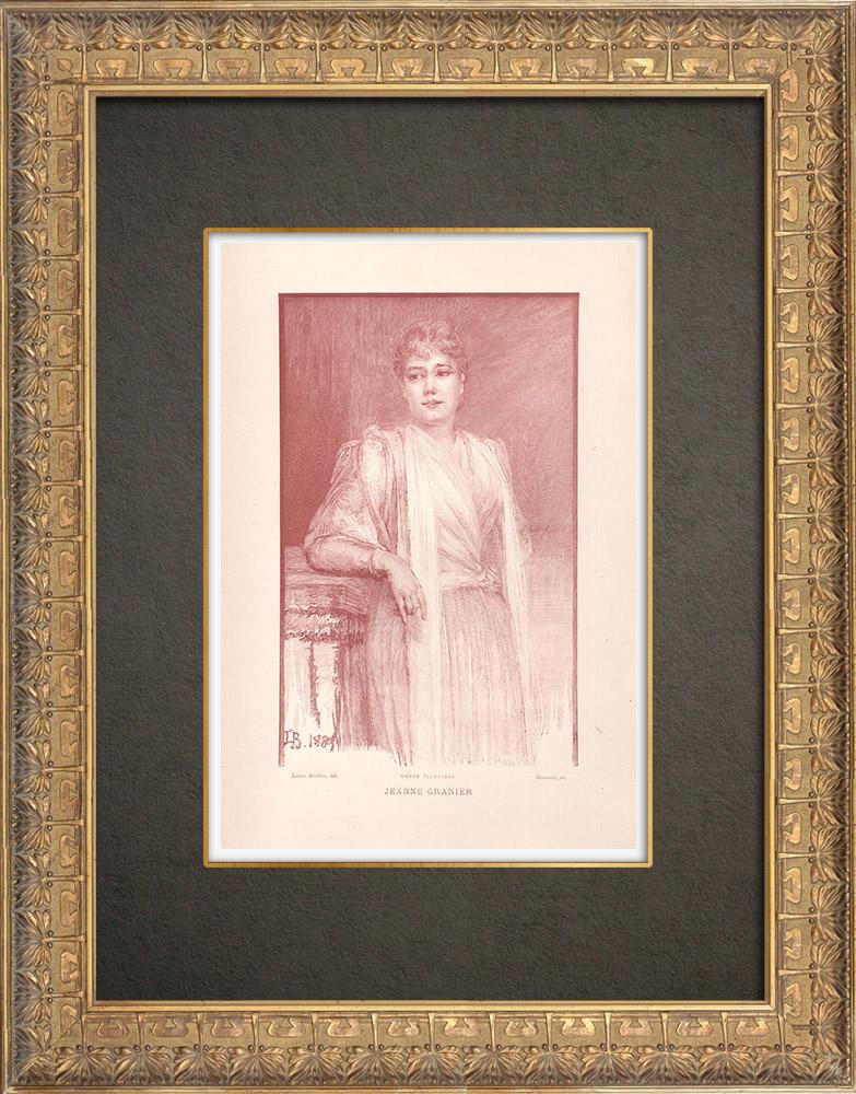 Gravures Anciennes & Dessins | Portrait de Jeanne Granier (1853-1939) | Typogravure | 1890