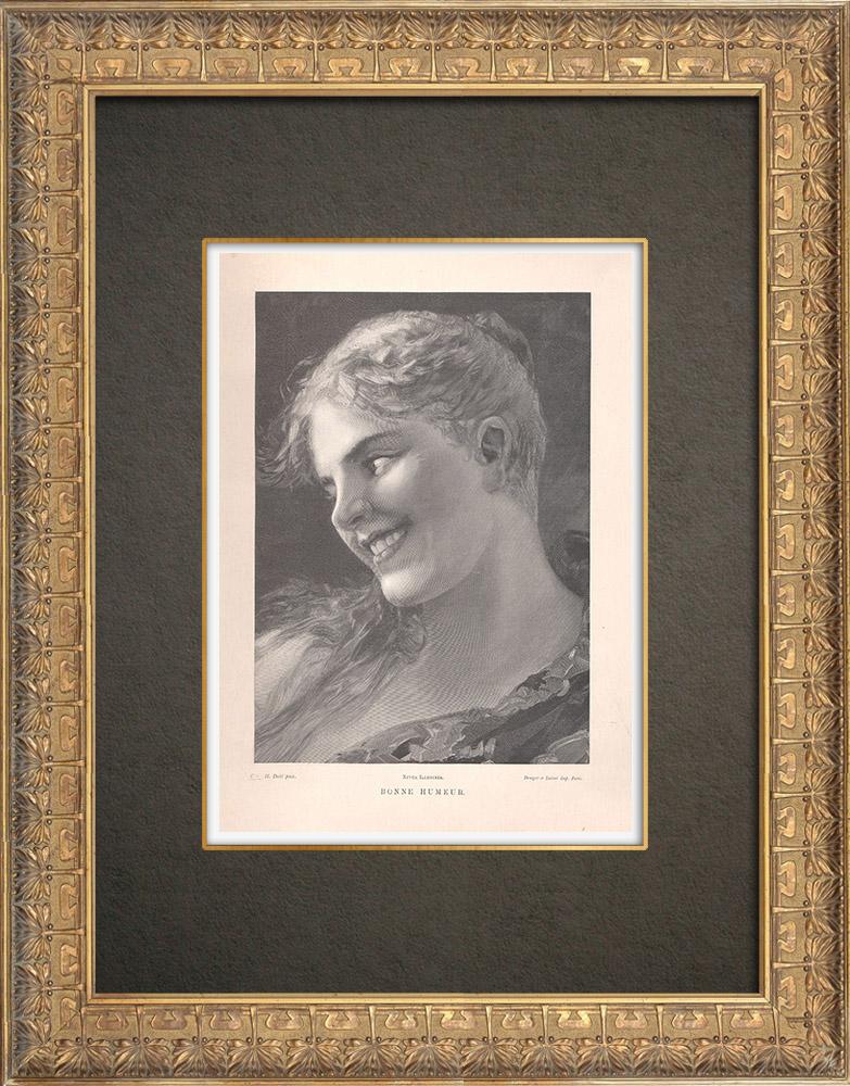 Gravures Anciennes & Dessins   Une jeune fille norvégienne (Hans Dahl)    Typogravure   1890