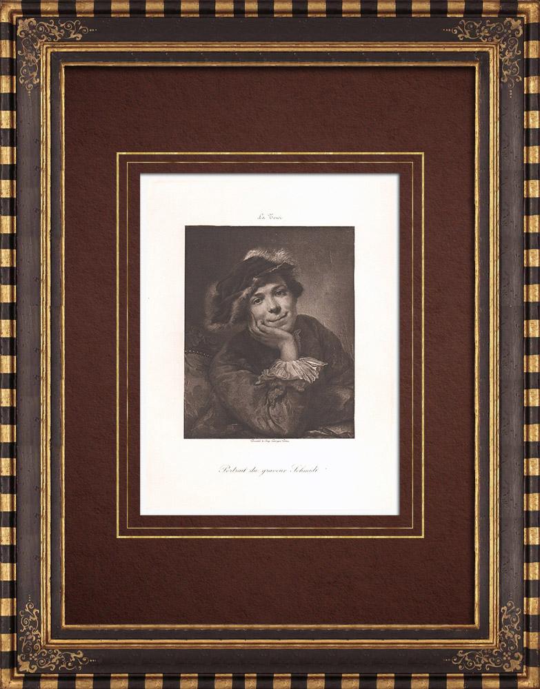 Gravures Anciennes & Dessins | Portrait de Georg Friedrich Schmidt (Georges de La Tour) | Héliogravure | 1890