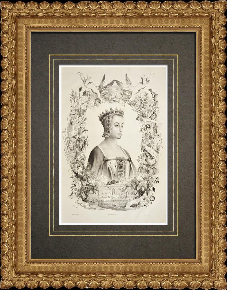 Gravures Anciennes & Dessins | Portrait de Anne de France - Anne de Beaujeu (1461-1522) | Lithographie | 1838