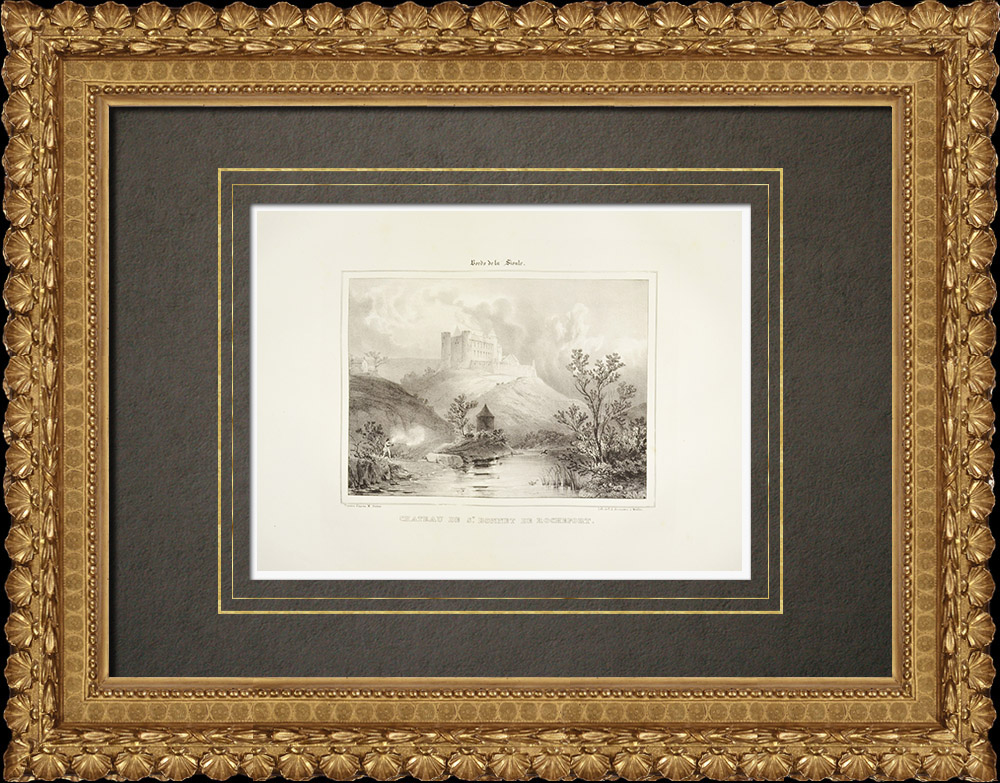 Gravures Anciennes & Dessins | Château de Rochefort - Allier (France) | Lithographie | 1838
