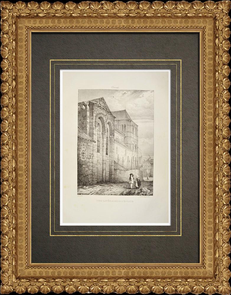 Gravures Anciennes & Dessins   Église Saint-Léger d'Ébreuil - Montluçon - Allier (France)   Lithographie   1838