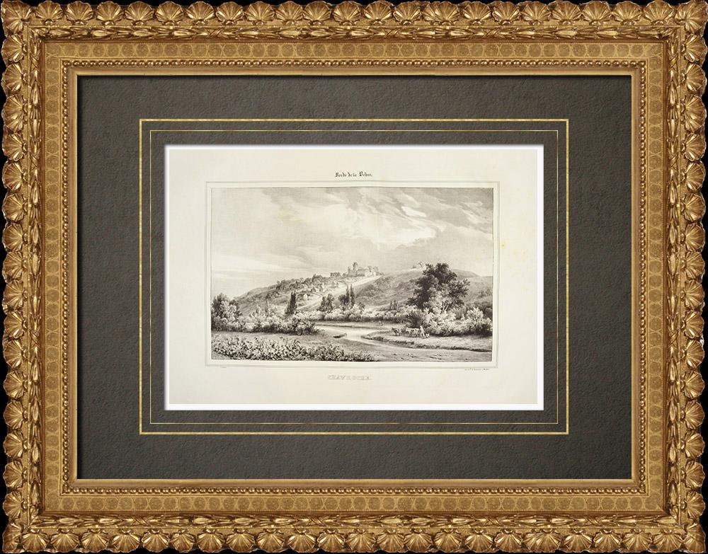 Gravures Anciennes & Dessins   Vue de Chavroches - Besbre - Château - Allier (France)   Lithographie   1838