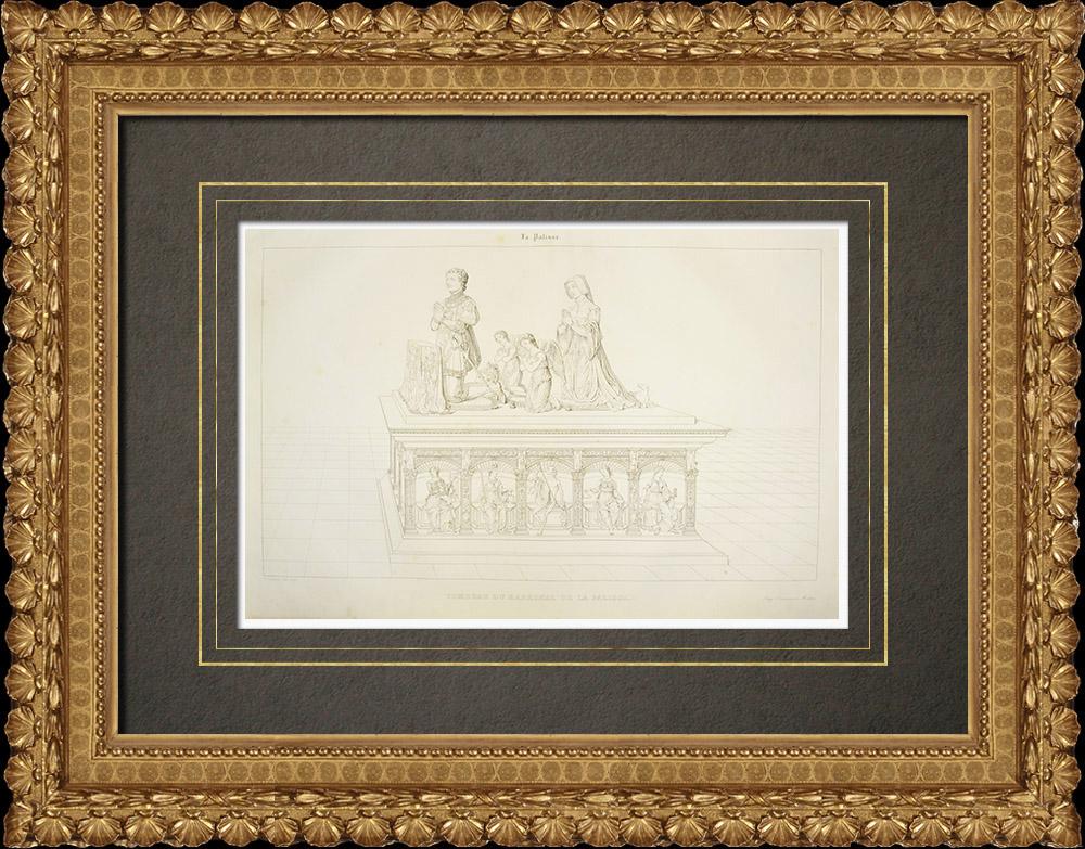 Gravures Anciennes & Dessins   Château de La Palice - Chabannes - Tombeau - Allier (France)   Gravure sur cuivre   1838