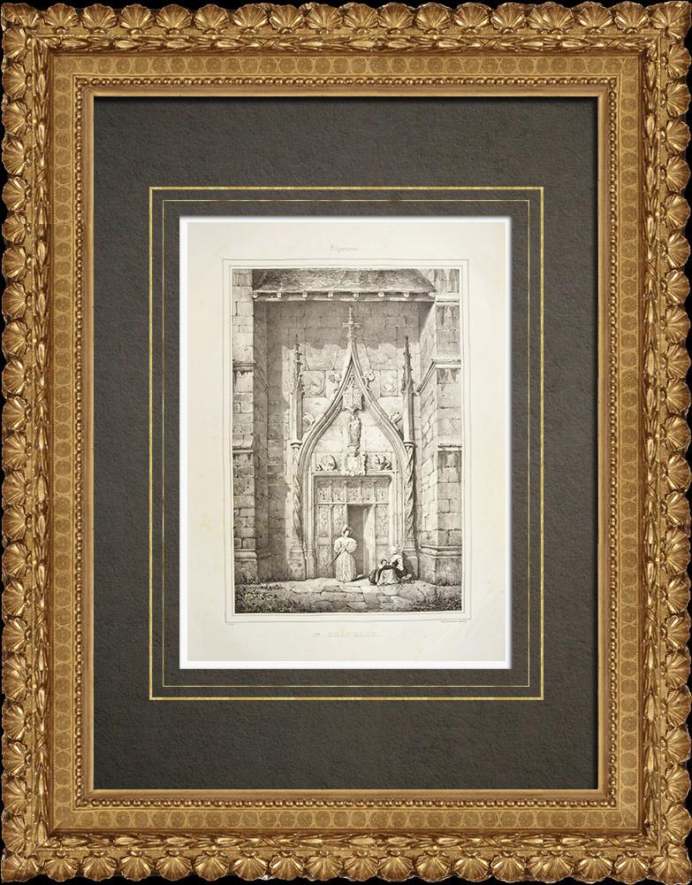 Gravures Anciennes & Dessins   Sainte-Chapelle d'Aigueperse - Puy-de-Dôme (France)   Lithographie   1838