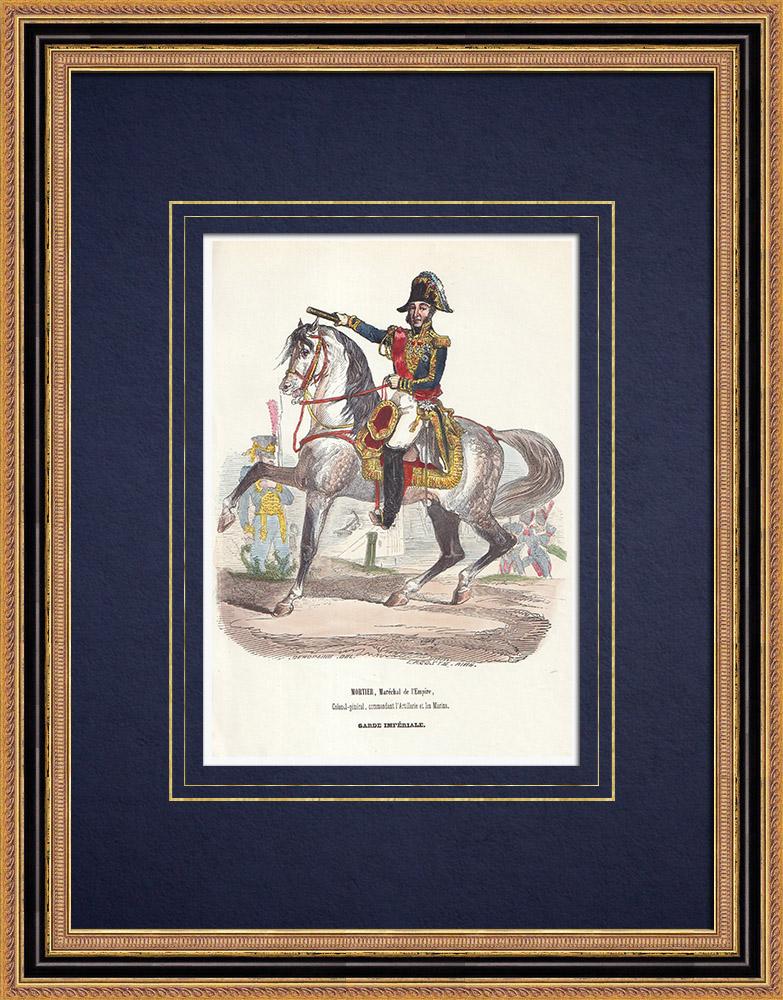 Gravures Anciennes & Dessins | Mortier, maréchal d'Empire commandant l'Artillerie et les Marins de la Garde Impériale (1804) | Gravure sur bois | 1844