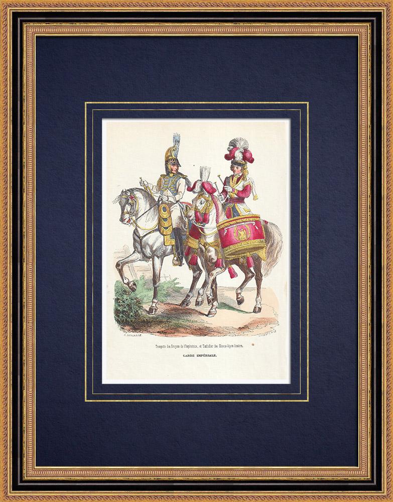 Gravures Anciennes & Dessins   Trompette des Dragons de l'Impératrice - Timbalier des chevau-légers - Garde Impériale (1812)   Gravure sur bois   1844