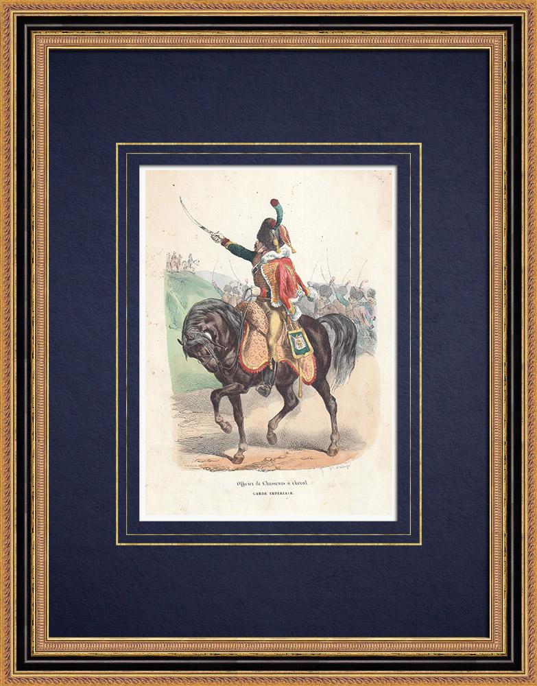 Gravures Anciennes & Dessins | Officier des Chasseurs à cheval de la Garde Impériale (1812) | Gravure sur bois | 1850