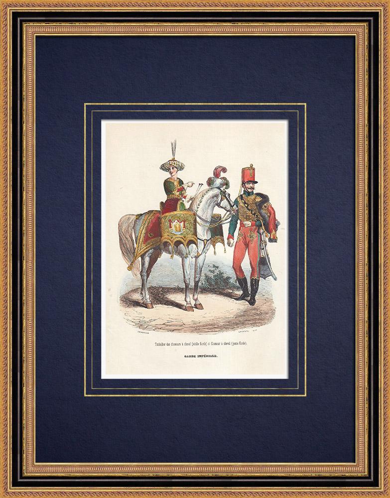 Gravures Anciennes & Dessins | Chasseurs à cheval de la Garde Impériale - Timbalier | Gravure sur bois | 1850