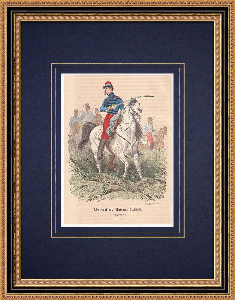 Gravures Anciennes & Dessins | 1er régiment de chasseurs d'Afrique - Cavalerie - Armée Française (1835) | Gravure sur bois | 1850