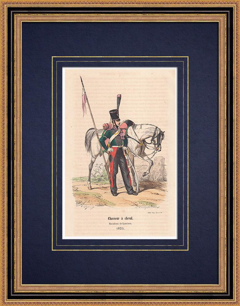 Gravures Anciennes & Dessins   Chasseur à cheval - Escadron de lanciers - Cavalerie (1825)    Gravure sur bois   1850