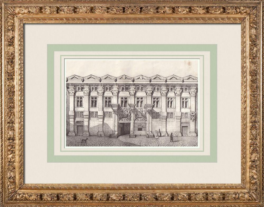 Gravures Anciennes & Dessins | Hôtel de Pierre Delfau - Style gothique - Toulouse (France) | Lithographie | 1842