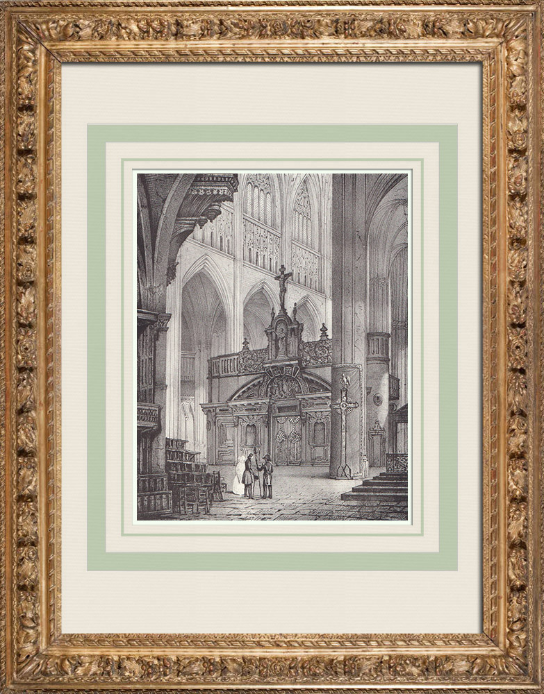 Antique Prints & Drawings | Toulouse Cathedral - Rood screen (France) | Lithography | 1842