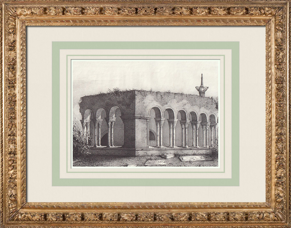 Antique Prints & Drawings   Cloister of the St. Stephen Cathedral - Toulouse (France)   Lithography   1842