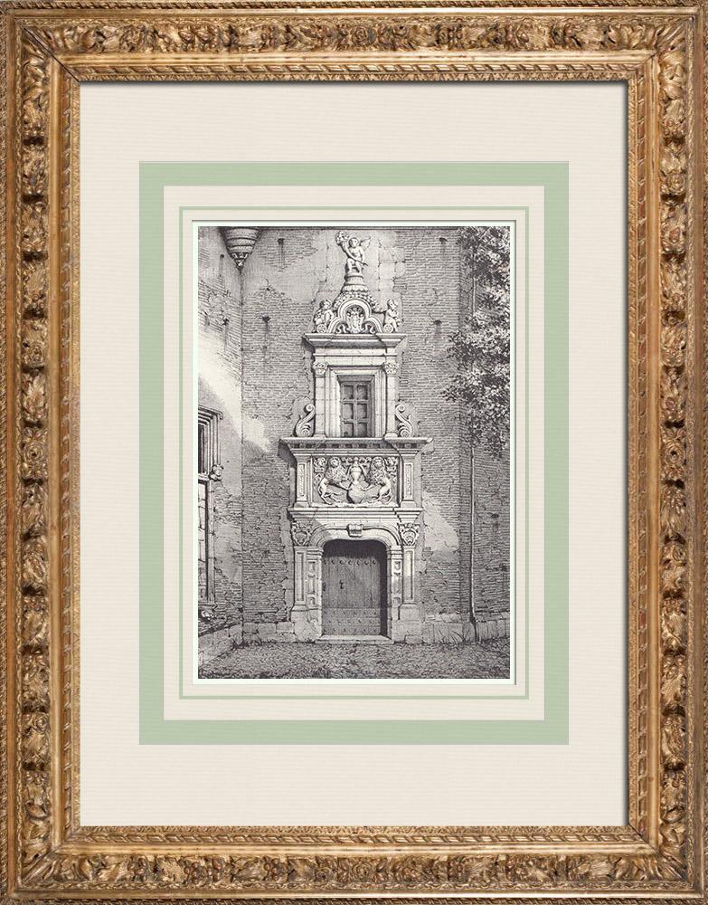 Gravures Anciennes & Dessins | Porte de l'Hôtel d'Aussargues - Toulouse (France) | Lithographie | 1842