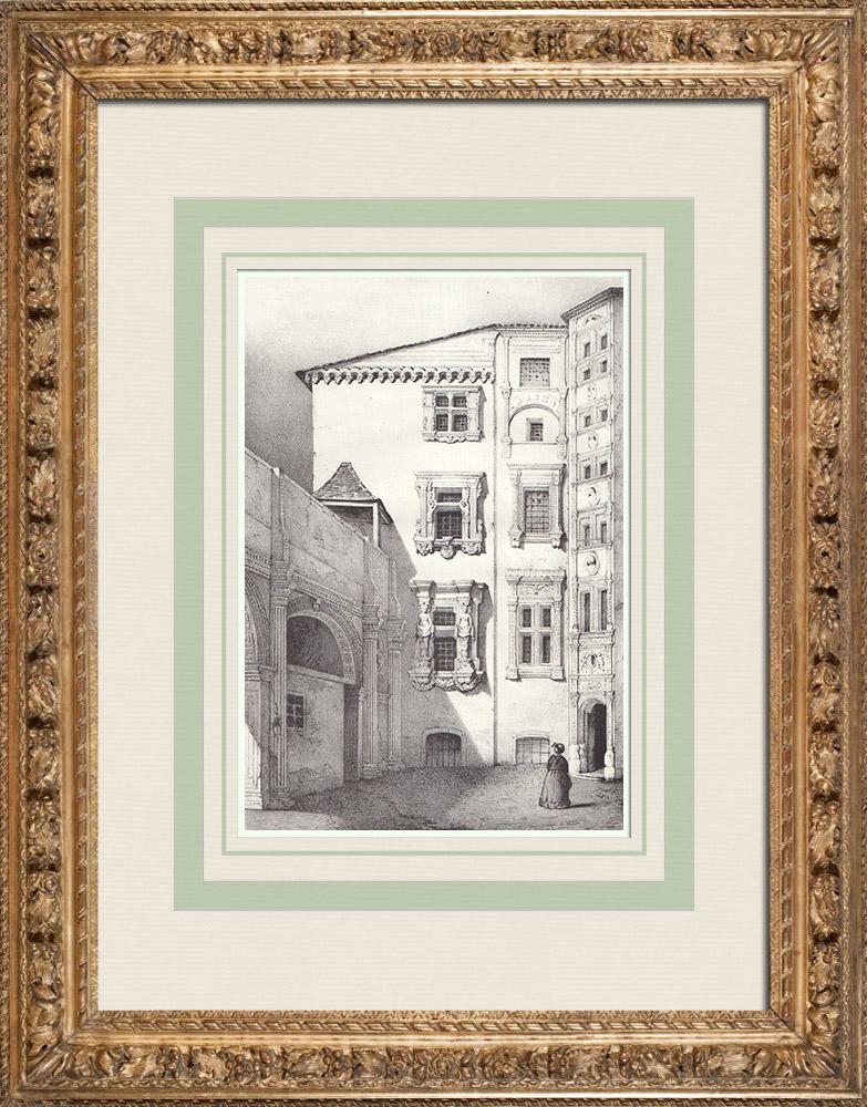 Gravures Anciennes & Dessins   Ancien Hôtel de Lasbordes - Hôtel du Vieux-Raisin - Toulouse (France)   Lithographie   1842