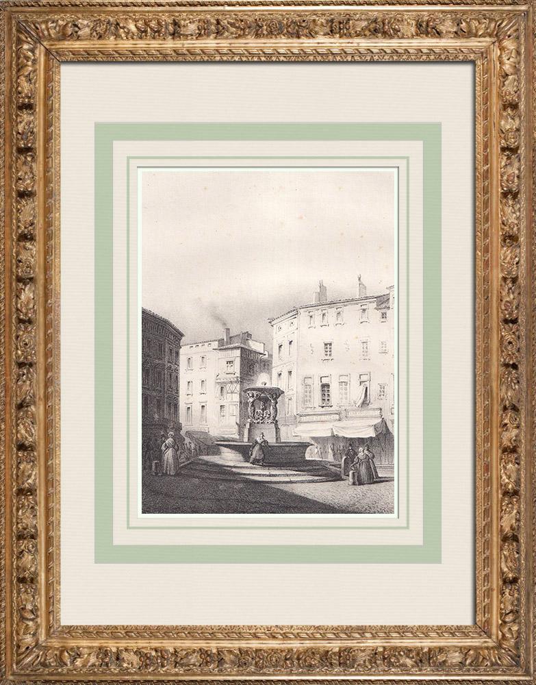 Gravures Anciennes & Dessins | Fontaine de la Trinité - Trois Grâces - Urbain Vitry - Toulouse (France) | Lithographie | 1842