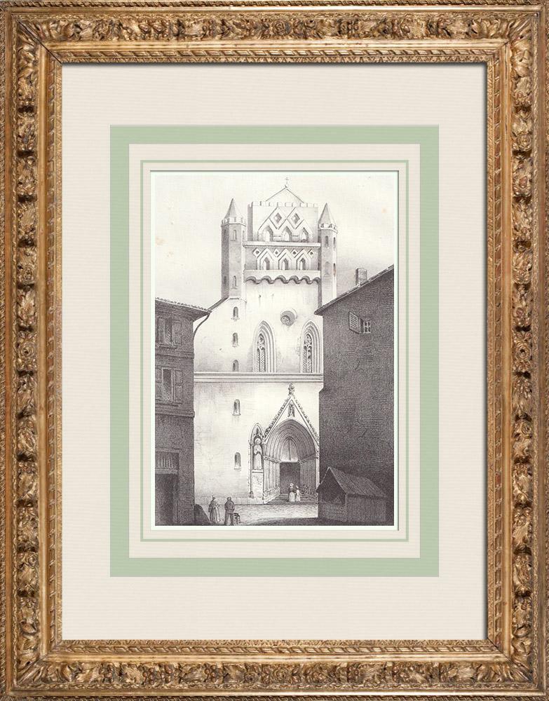 Gravures Anciennes & Dessins | Église Notre-Dame du Taur à Toulouse (France) | Lithographie | 1842