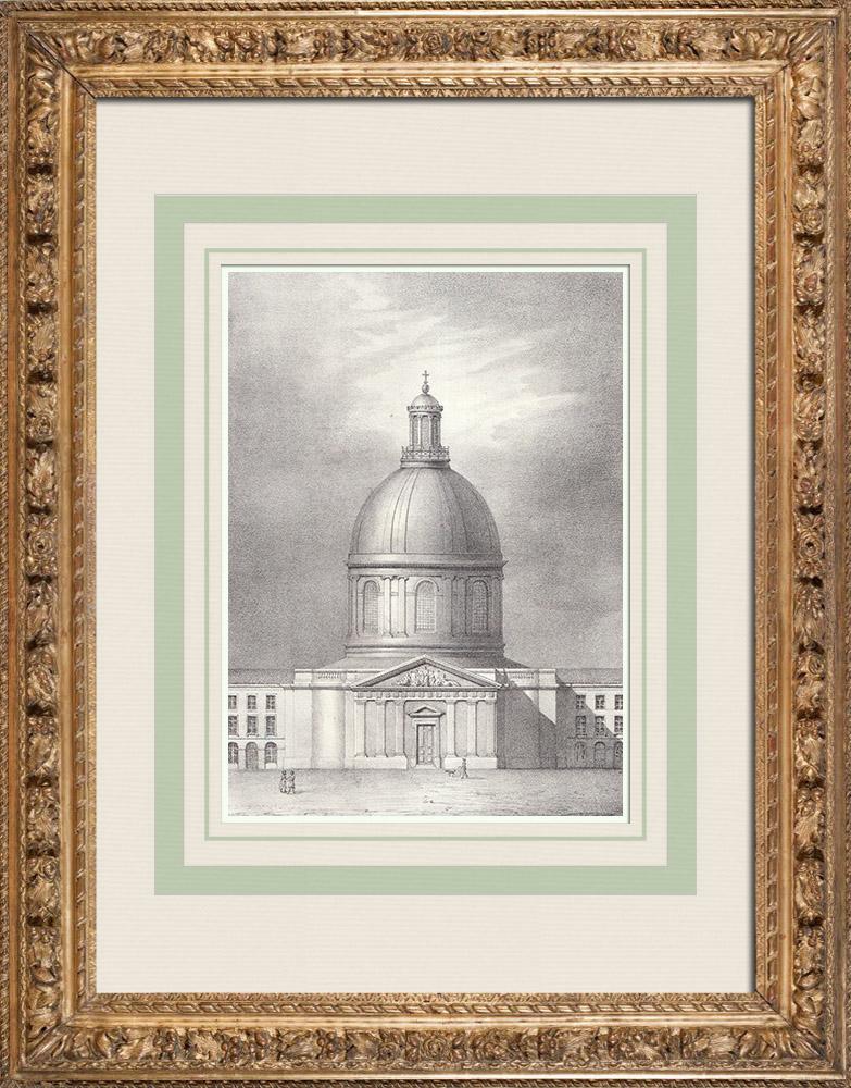 Gravures Anciennes & Dessins | Eglise de l'Hospice de La Grave - Dôme - Toulouse (France) | Lithographie | 1842
