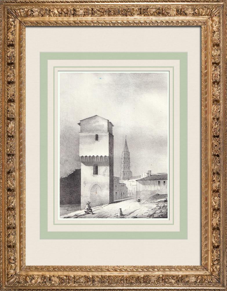 Antique Prints & Drawings | Porte Pouzonville - Toulouse (France) | Lithography | 1842